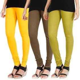 Hrinkar Cotton Leggings - Yellow