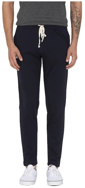 Hubberholme Men Cotton Blend Track Pants - Navy Blue