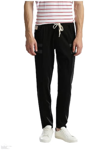 Hubberholme Men Cotton blend Track Pants - Black