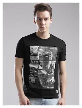 Hubberholme Men Regular fit Round neck Printed T-Shirt - Black