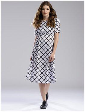 Hubberholme Women Modal Printed A Line Kurti Dress - White