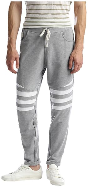 Hubberholme Men Cotton Blend Track Pants - Grey