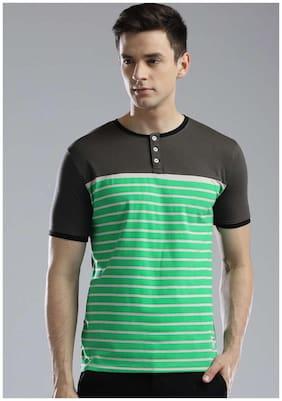 Men Scoop Neck Striped T-Shirt