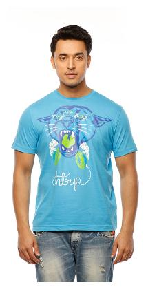 Huetrap Men's Blue Panther Face Print T-shirt