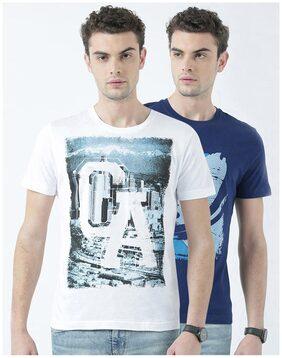 Huetrap Men Regular Fit Round Neck Printed T-Shirt - Multi