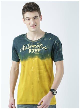 Huetrap Men Yellow & Green Regular fit Cotton Round Neck T-Shirt