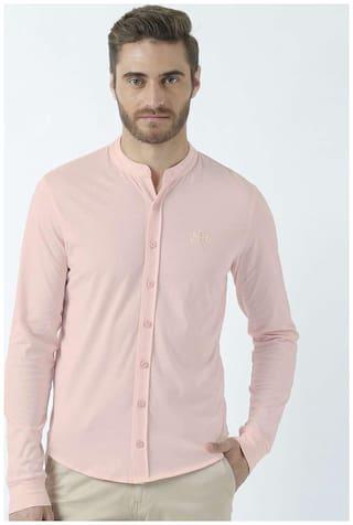 Huetrap Men Pink Solid Regular Fit Casual Shirt