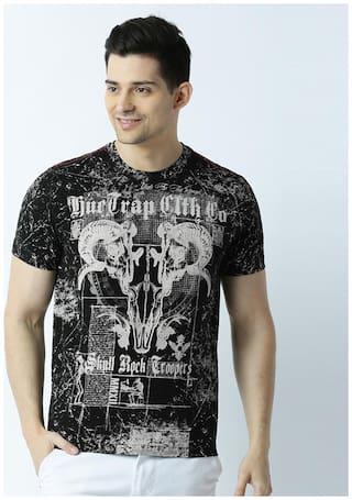 Huetrap Men's Regular Fit Round Neck Printed T-Shirt - Black