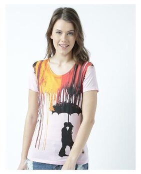 Huetrap Womens Look adorable Round neck graphic printed T Shirt