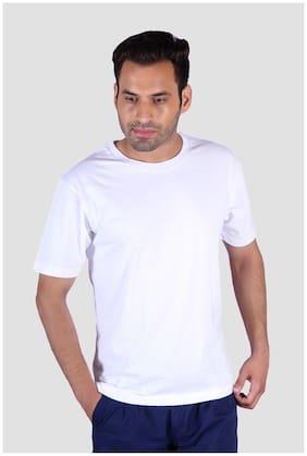 Humbert Men Loose fit Crew neck Solid T-Shirt - White