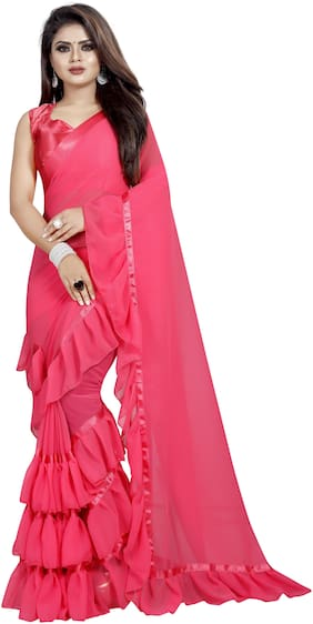 Hutah Pink Solid Universal Ruffle Saree , With blouse