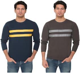 HVBK Men Brown & Blue Regular fit Cotton Blend Round neck T-Shirt - Pack Of 2