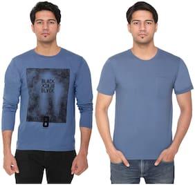 HVBK Men Blue Regular fit Cotton Blend Round neck T-Shirt - Pack Of 2