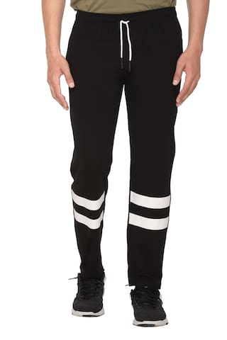 HVBK Cotton Blend Printed Black Track Pants  For Men