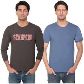 HVBK Men Blue & Brown Regular fit Cotton Blend Round neck T-Shirt - Pack Of 2