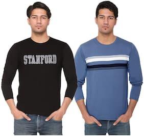 HVBK Men Black & Blue Regular fit Cotton Blend Round neck T-Shirt - Pack Of 2