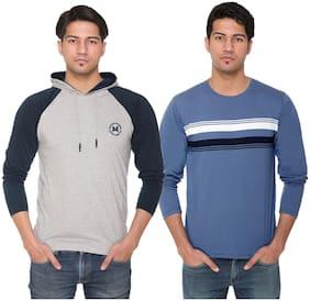 HVBK Men Blue & Grey Regular fit Cotton Blend Hood T-Shirt - Pack Of 2