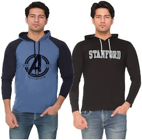 HVBK Men Black & Blue Regular fit Cotton Blend Hood T-Shirt - Pack Of 2