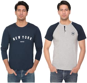 HVBK Men Blue & Grey Regular fit Cotton Blend Round neck T-Shirt - Pack Of 2