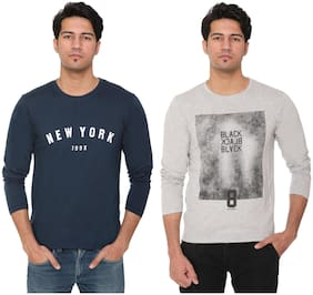 HVBK Men Grey & Blue Regular fit Cotton Blend Round neck T-Shirt - Pack Of 2