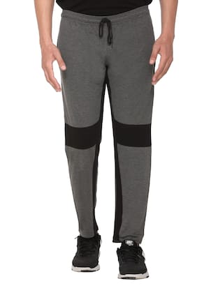 HVBK Cotton Blend Solid Grey;Black Track Pants  For Men