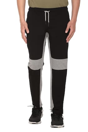HVBK Men Black & Grey Striped Regular fit Track pants