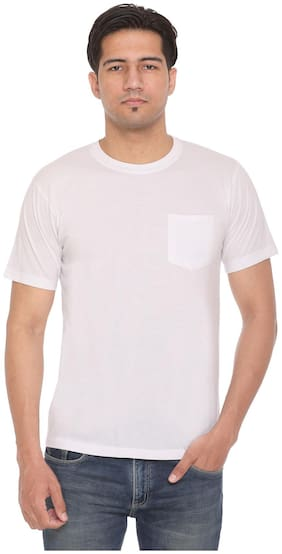 HVBK Men White Regular fit Cotton Blend Round neck T-Shirt - Pack Of 1