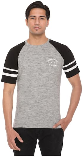 HVBK Men Black & Grey Regular fit Cotton Blend Round neck T-Shirt - Pack Of 1