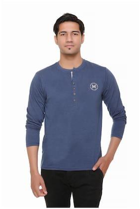 HVBK Men Blue Regular fit Cotton Blend Henley neck T-Shirt - Pack Of 1