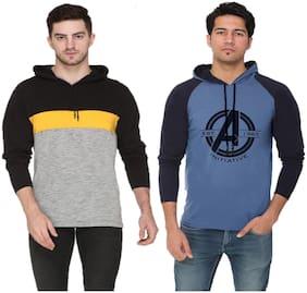 HVBK Men Multi Regular fit Cotton Blend Hood T-Shirt - Pack Of 2