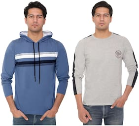 HVBK Men Grey & Blue Regular fit Cotton Blend Hood T-Shirt - Pack Of 2