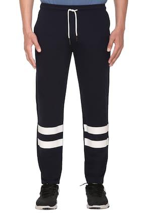 HVBK Men Blue Striped Regular fit Track pants