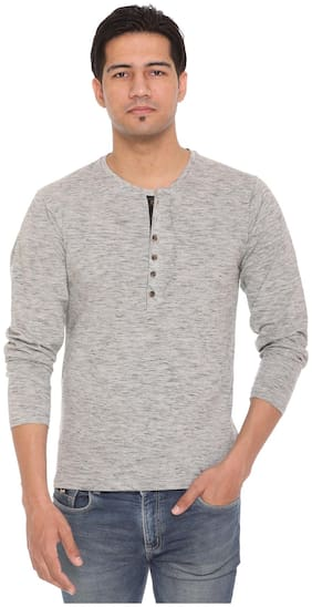 HVBK Men Grey Regular fit Cotton Blend Henley neck T-Shirt - Pack Of 1