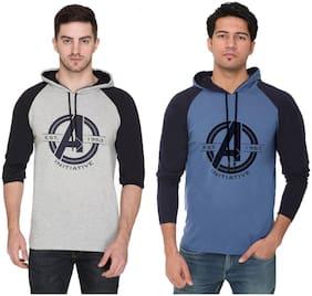 Men Hood Colorblocked T-Shirt Pack Of 2