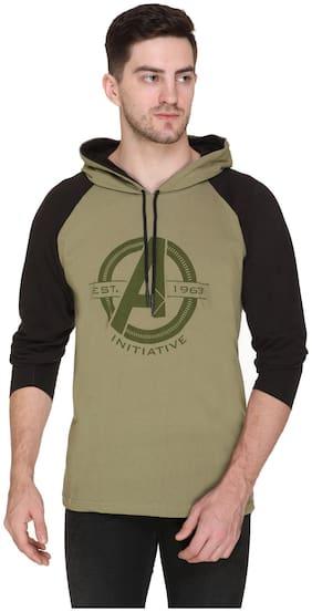 HVBK Men Green & Black Regular fit Cotton Blend Hood T-Shirt - Pack Of 1