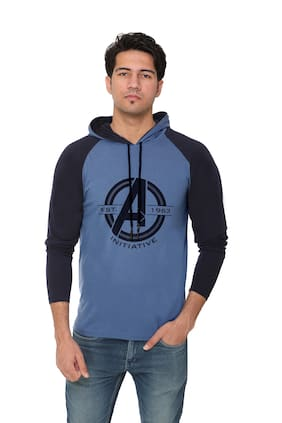 HVBK Men Blue & Navy blue Regular fit Cotton Blend Hood T-Shirt - Pack Of 1