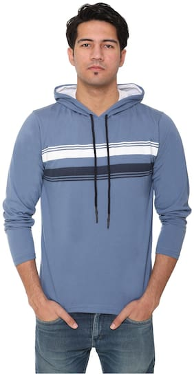 HVBK Men Blue Regular fit Cotton Blend Hood T-Shirt - Pack Of 1