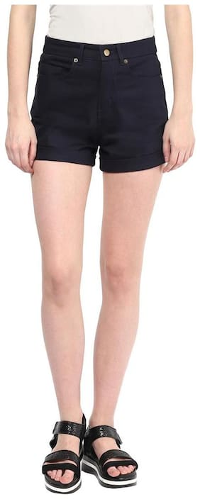 Hypernation Navy Blue Cotton Lycra Shorts For Women