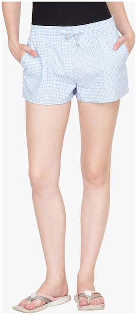 Hypernation Blue Cotton Shorts