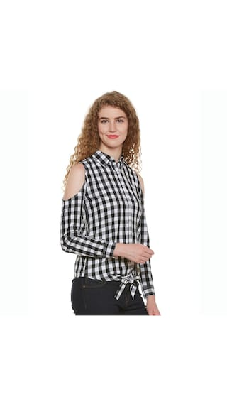 Hypernation Shoulder Cold Checkered Shirt Women's SqwWSC8r