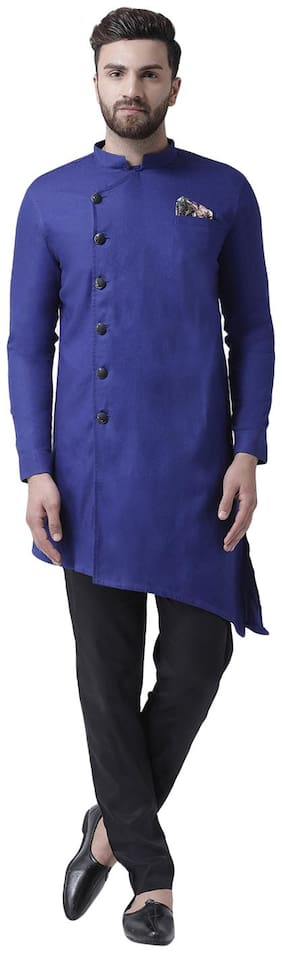I Know Asymmetric Blue Cotton Men Kurta with Pocket Square and Cotton Trousers
