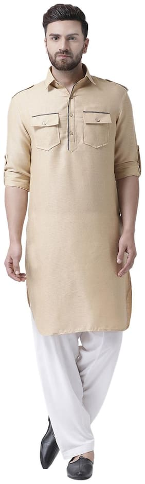 I Know Contrast Piping Beige Jute Silk Men Pathani Kurta Only
