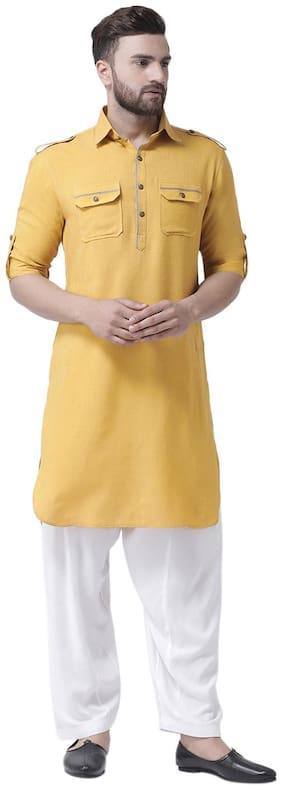 I Know Contrast Piping Mustard Cotton Silk Men Pathani Kurta Only