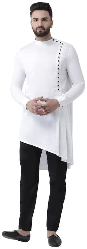 I Know Men White Regular Fit Kurta