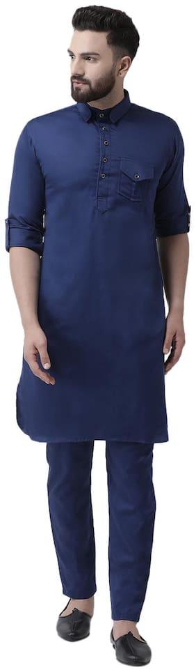 I Know Cotton Regular Fit 1 Kurta & 1 Pyjamas Blue