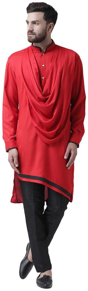 I Know Cowl Neck Red Viscose Rayon Asymmetric Men Kurta Only