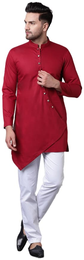 I Know Dapper Overlap Curved Placket Maroon Men's Kurta Only