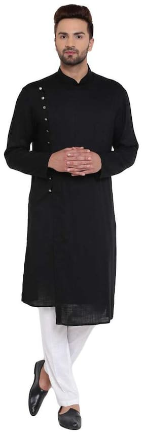 I Know Dapper Overlap Sherwani Style Black Men's Kurta