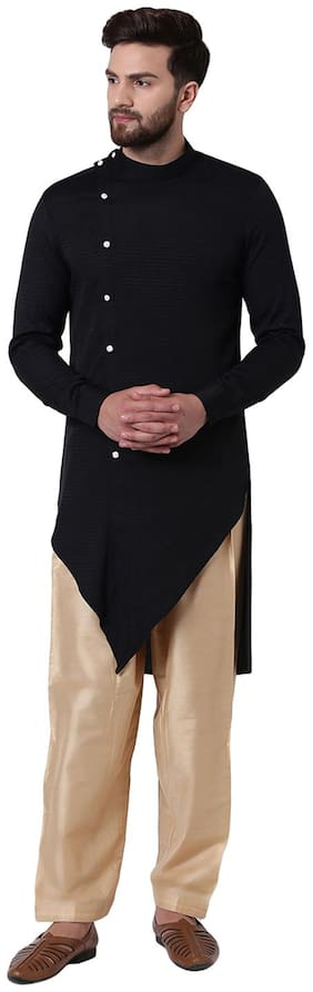 I Know Men Black Regular Fit Kurta