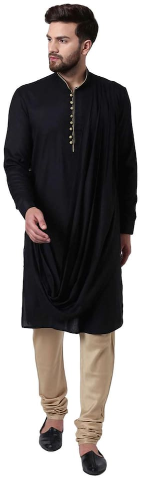 I Know Fashionable Long Drape Black Contrast Piping Men's Kurta with Beige Churidar